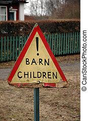 Warning sign for children