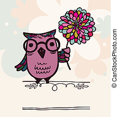 Owl on holiday background