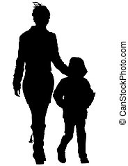 Mother - Vector drawing mother with a child