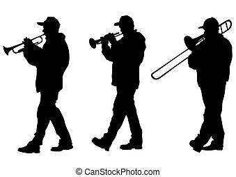 Trombone - Vector drawing of a man walking with a trombone