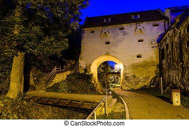 brasov, romania - historic fortification in brasov...