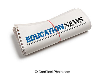 Education News, Newspaper roll with white background