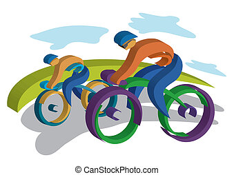 Two bikers traveling on the road. Colorful Vector...