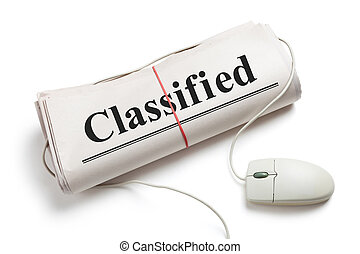 Classified, Computer mouse and Newspaper Roll with white...