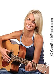 Beautiful Guitar Player - Gorgeous blonde girl with happy...