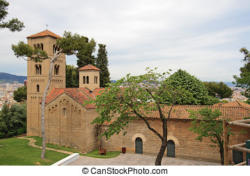 Roman church in Poble Espanyol traditional architectural...