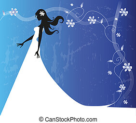 bride silhouette on floral background