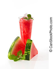 Watermelon drink cocktail and slices of watermelon decorated...