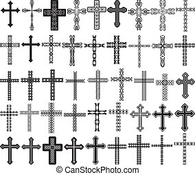 crosses - clip art illustration of crosses with ornaments