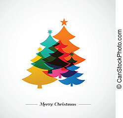 Christmas trees - colorful background and greeting card