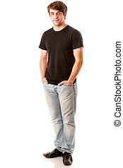 Young man in black tshirt isolated over white