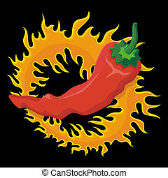 Pepper with flame - Hot red pepper over a circle of fire...