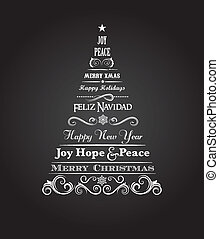 Vintage Christmas tree with text and elements - Vintage...