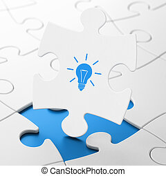 Finance concept: Light Bulb on puzzle background - Finance...