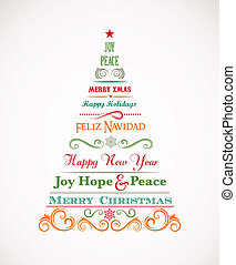 Vintage Christmas tree with text and elements