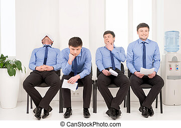 Varieties of poses man waiting for job interview. Sitting in...