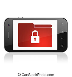 Business concept: Folder With Lock on smartphone - Business...