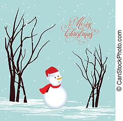 Merry christmas card Snowman