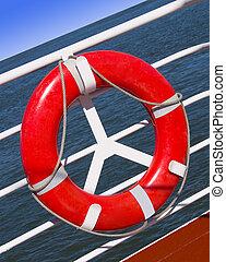 Lifesaver - Red lifesaver on a boat at sea