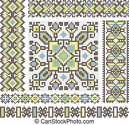 cross-stitch ethnic Ukraine pattern design - embroidered...