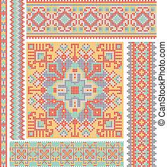 cross-stitch ethnic Ukraine pattern design