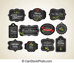 Chalkboard Christmas vintage invitation and labels -...