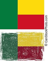 Benin grunge flag. Vector illustration.