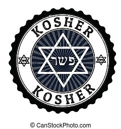 Kosher stamp - Kosher grunge rubber stamp on white, vector...