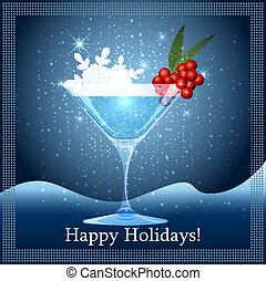 Snowflake cocktail - Illustration with snowflakes and...