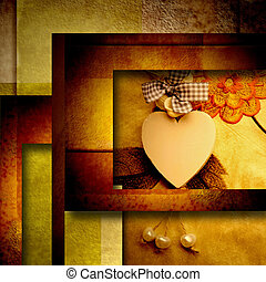 heart background - Modern heart background in gold tones