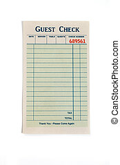 Blank Guest Check - Blank Guest Check, concept of restaurant...