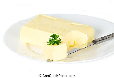 Yellow butter with knife - Yellow butter with parsley placed...