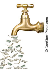 Golden vintage tap with money flowing out