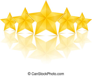 Five Stars - Five golden stars with reflection on white...