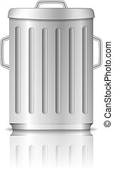 Trash Can - Trash can with lid on white background, vector...