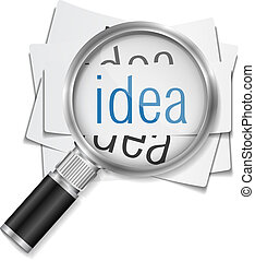 Idea Concept - Idea concept, magnifying glass on papers with...