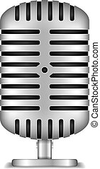 Microphone - Retro microphone on white background, vector...