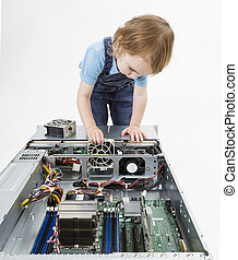 child swapping fan on server - young child working on...
