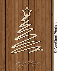 Christmas greeting with wooden background - Christmas...