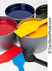 Printing inks (cmyk) and trowels