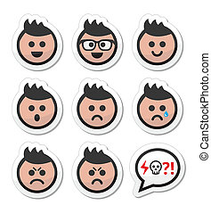 Man or boy with spiky hair faces - Collection of avatar...