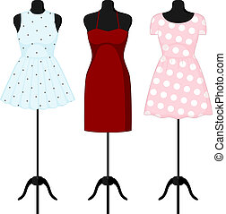 Different dresses on a mannequin. Vector illustration