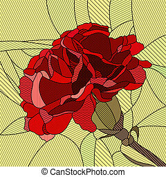 Mosaic red carnation - Vector mosaic with large textured...