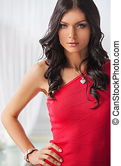 Beautiful fashion model. Attractive young black hair woman...