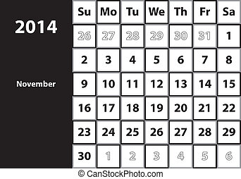 November 2014 HUGE monthly calendar