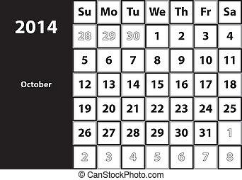 October 2014 HUGE monthly calendar