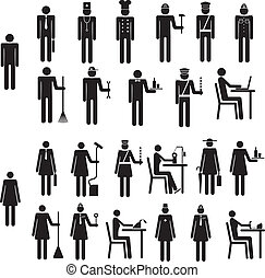 Set of icons figure people job occupation - Set of icons of...