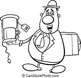 salesman cartoon for coloring book - Black and White Cartoon...