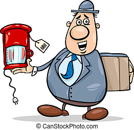 salesman with coffee maker cartoon - Cartoon Illustration of...