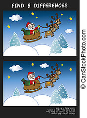 christmas game for children: find eight differences